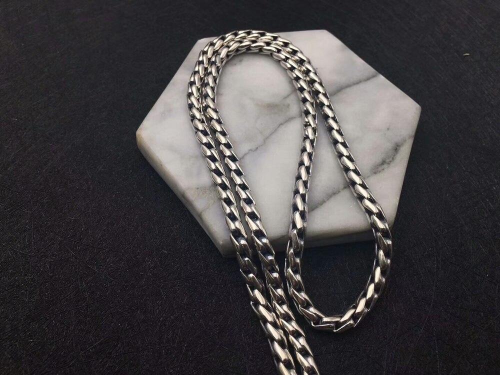 Solide argent 925 audacieux lien chaîne collier pour hommes 5mm épais Chunky collier Simple Style 100% 925 Sterling argent hommes bijoux - 5