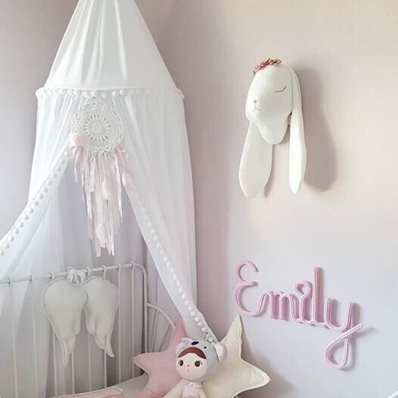 Bébé Net auvent couvre-lit moustiquaire coton boule dentelle berceau filet rideau surdimensionné dôme tente bébé chambre décor nouveau-né literie