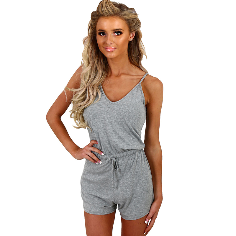 Sexy Women Solid Playsuit Romper V Neck Sleeveless Drawstring High Waist Spaghetti Strap Slim Slip Jumpsuit For Ladies Plus Size