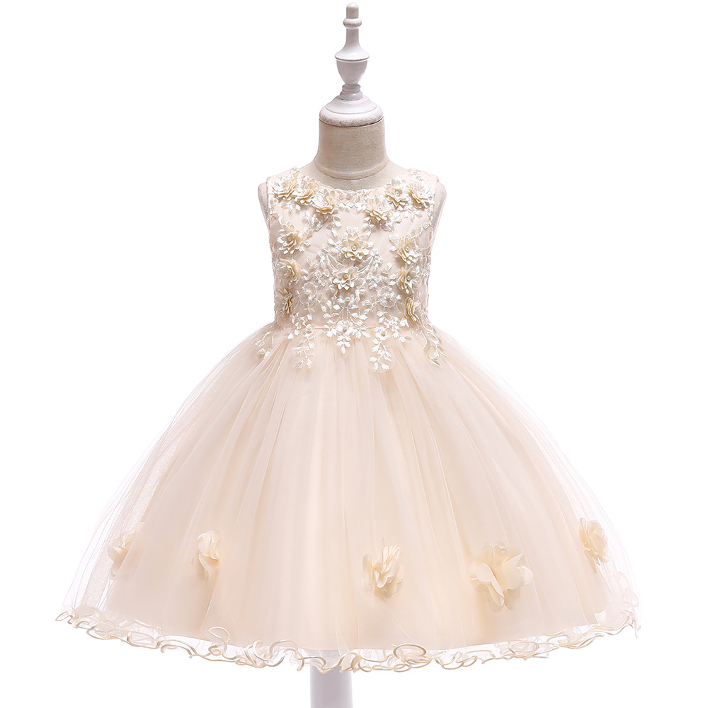 Champagne A-Line   Flower     Girl     Dresses   for Wedding Tulle First Communion   Dresses     Flower   Evening Party   Dresses