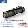 Mini Rechargeable led flashlight led cree q5 Lanterna High Power Torch 2000 lumen Zoomable Tactical Penlight lantern bike light