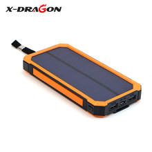 X-DRAGON Multi-functional Power Bank 15000mAh Support Emergency Solar Charging with Dual USB for iPhone Smartphones(China)