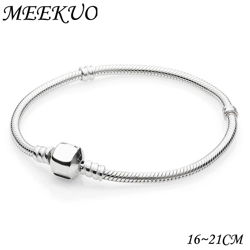 2018 New Antique Silver Snap Clasp Snake Chain Charm Fit Pandora Bracelet For Women Bangle European DIY beads Necklace CL01 ...