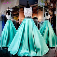 Real Photos Two Pieces Lace Beaded Crop Top Prom Dresses Long Open Back Satin Party Dress Appliqued Sleeveless Evening Gowns
