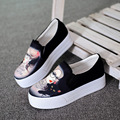 Women's White Platform Shoes Breathable Hand Painted Canvas Shoes for Women Loafers Creepers Ladies Flats M820