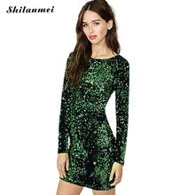 Green Sequin Dress Women Sexy Club Dresses 2017 Slim Fit Backless Bodycon Party Nightclub Mini Vintage Dress vestido lentejuelas