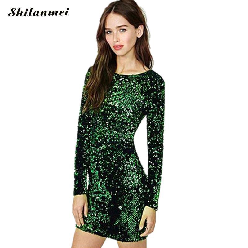 платье пайетки Зеленый Женщины Sexy Club Платья 2017 Slim Fit Спинки Bodycon Ночной Клуб Мини Старинные платье lentejuelas платья женские женское