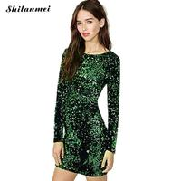 Women Sexy Long Sleeve Green Sequin Dress Slim Fit Backless Bodycon Cocktail Party Nightclub Dresses