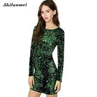 Verde Vestito di Paillette Delle Donne Vestiti Dal Randello Sexy 2018 Slim Fit Backless Bodycon Partito Discoteca Mini Abito Vintage vestido lentejuelas
