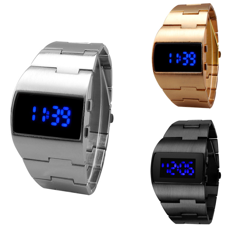 Green Yellow Blue Led Light Stainless Steel Smart Watch Men Sports Casual Wristwatches Clock #m Fashion Led Watch Men Red