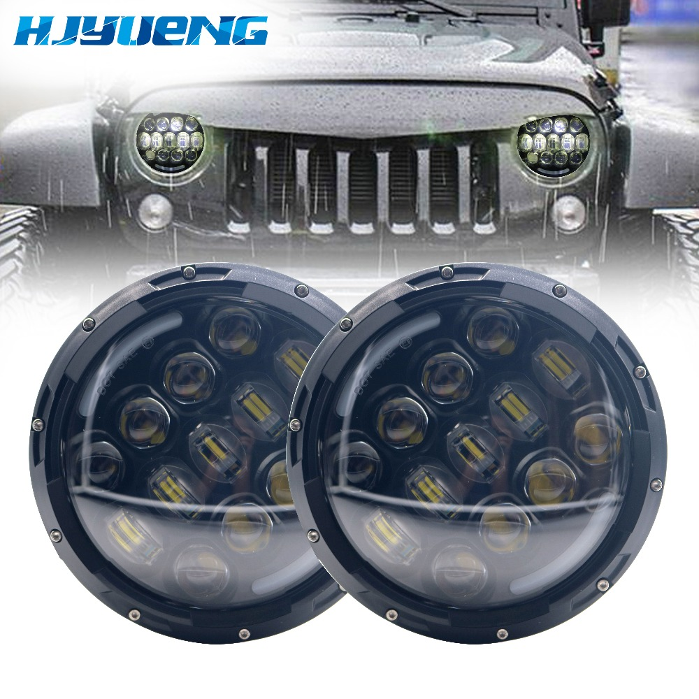 HJYUENG 105W 7inch round headlight Led for Jeep Wrangler Hummer 4X4 4WD SUV auto Driving Fog Light Headlight Headlamp black chrome 2pcs 7inch round 105w led headlight drl turn signal for jeep wrangler hummer 4x4 4wd suv driving headlamp