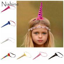 NISHINE New Children Hair Accessories Princess Unicorn Chiffon Flower Headband Baby Crown Headwear Toddler Elastic Headband