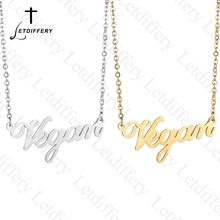 Letdiffery Brand Stainless Stee Letters Vegan Necklace Veget