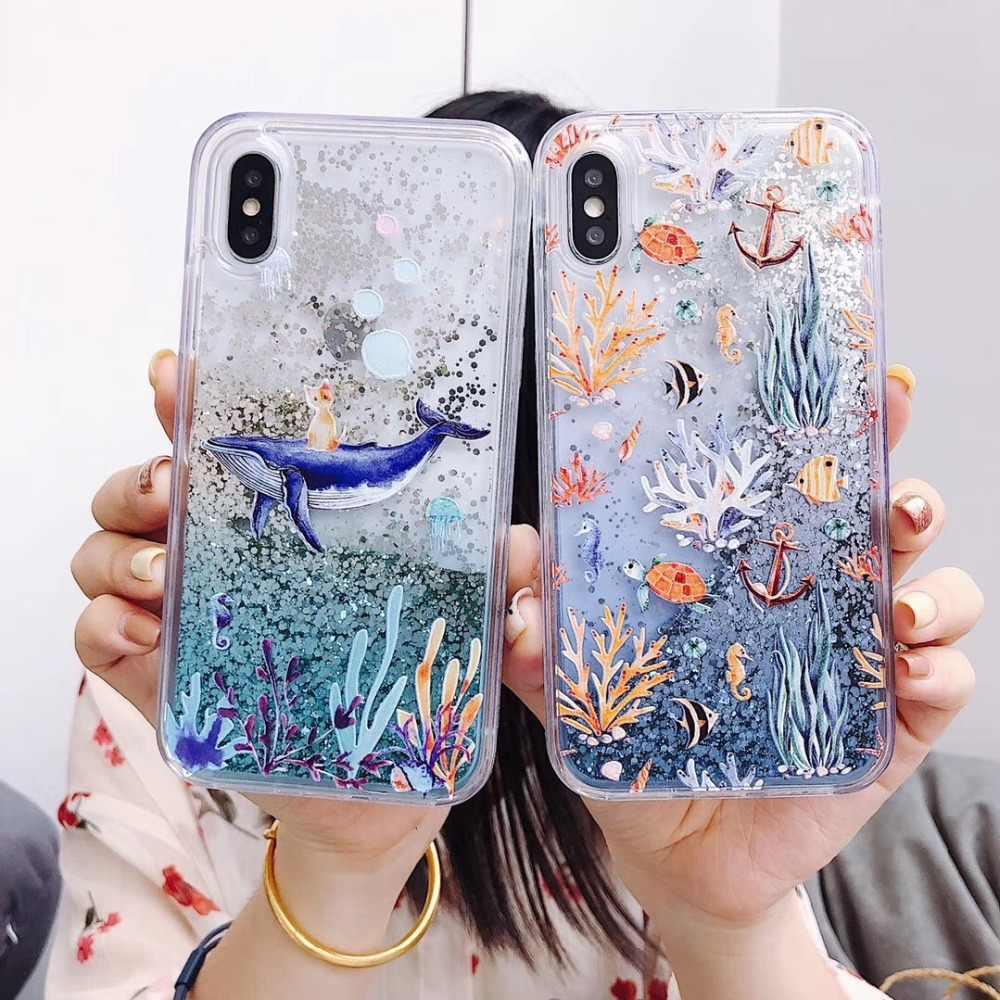 new concept cf66f b0eb4 Glitter Liquid ocean Cute shark Cases For iPhone X XS max Case XR For coque  iPhone 6 6S 7 7Plus 8 8 plus Capa Cartoon Seaweed
