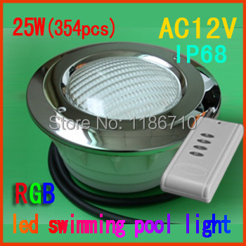 underwater led pool light(Stainless steel panel) embedded led swimming pool light 25W RGB (354pcs) Free shipping