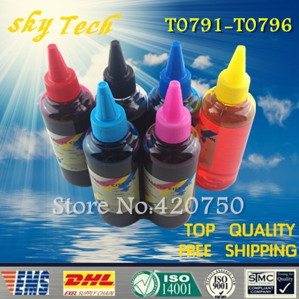 Dye refill ink Suit for Epson T0791 - T0796 cartridges,suit for Epson 1430 1400 PX700W PX800FW P50 . 100MLX6 dye refill ink suit for epson t5846 cartridges suit for epson pm280 pm200 pm240 pm290 pm225 specialized ink