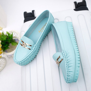 Image 5 - Summer Soft Leather Loafers Women Shoes Blue Black Pink Slip On Casual Shoes Women Flats Moccasin White Nurse Shoes Ladies Flats