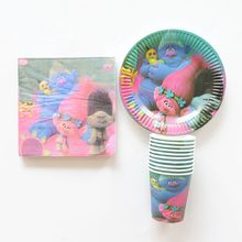 40pcs/lot Kids Favors Trolls Birthday Party Paper Plates Cups Napkin Decoration 10 kid Birthday Wedding Party Set Supplies(China)