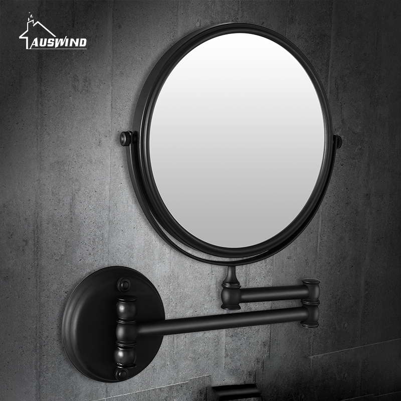 Bath Mirrors Retro Copper Wall Mounted 8 Inch Round Bathroom Mirror Led Light Of Bathroom Floding Makeup Mirror YD 503