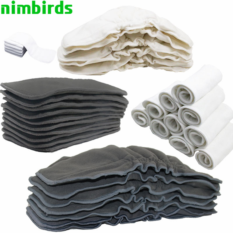 Reusable Bamboo Charcoal Insert Baby Cloth Diaper Nappy  Bamboo Or Microfiber Or  Bamboo Fleece Cloth Diaper Insert