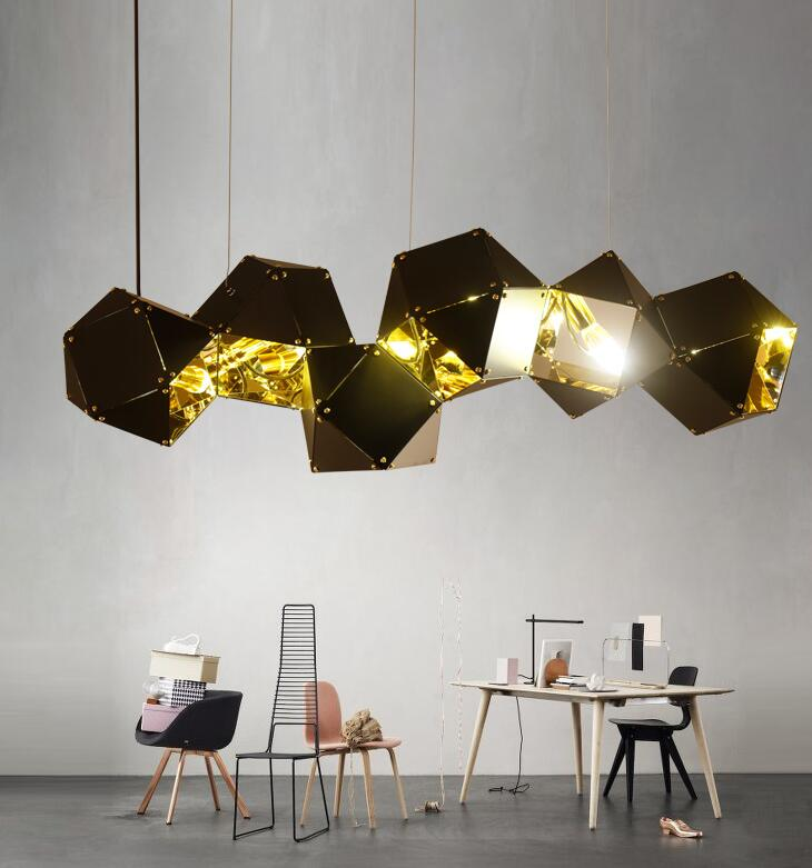 NEW Nordic Modern Pendant Lights Metal Faceted Pendant Lamp Villa Hotel Gallery Bar Home Living room restaurant E27 hanging lamp