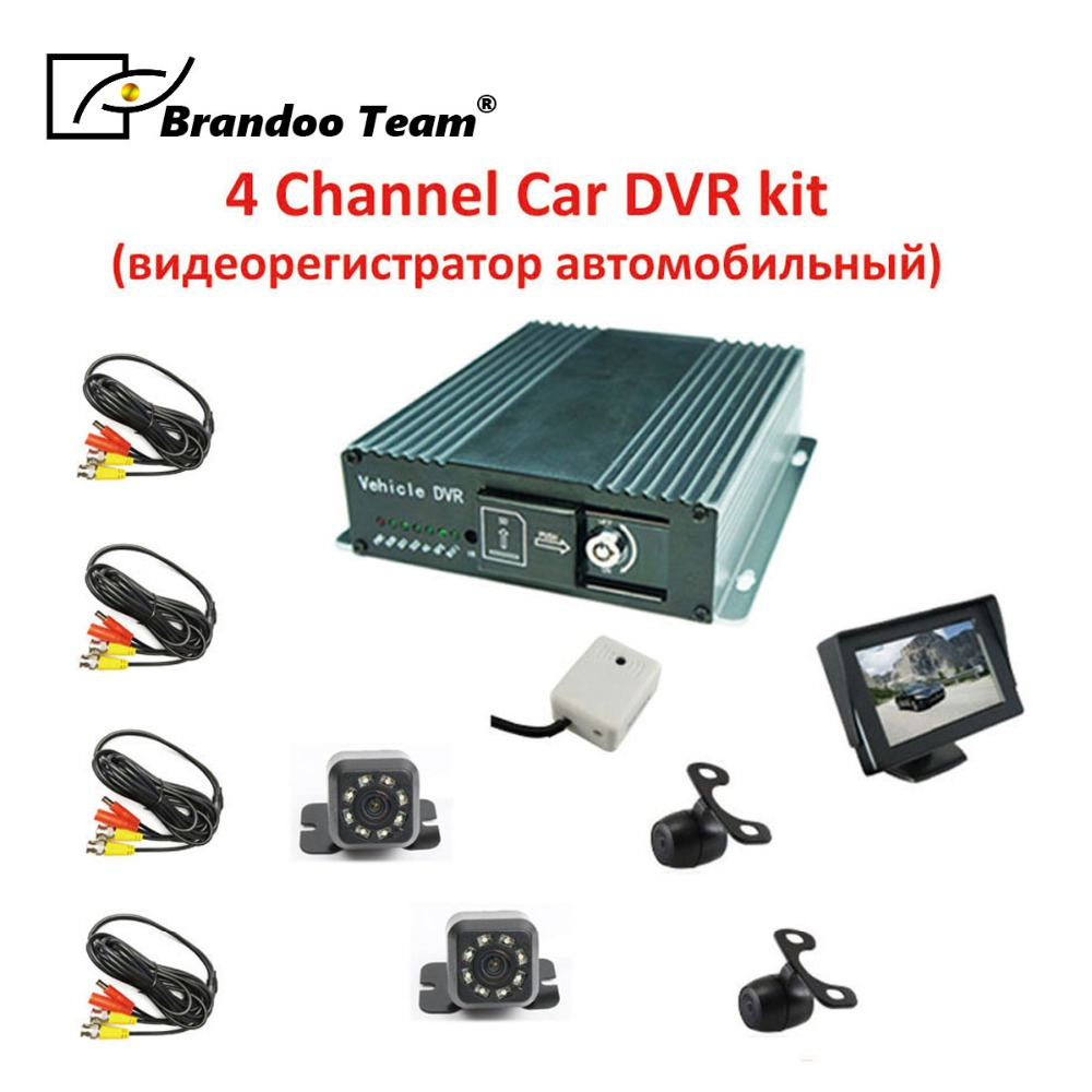 4 canaux dvr pour automobiles voiture enregistreur enregistreur brandoo 4ch dvr, 4ch voiture dvr kits comprennent 4 pièces caméra, 1 pièces moniteur