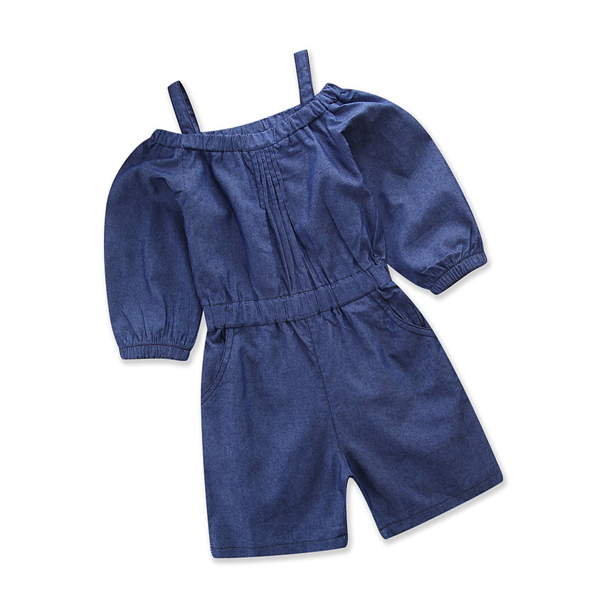 Baby Girl Clothes 2018 Fashion Pure Color Condole Belt Off Shoulder Demin One Pieces Jumpsuit Toddler Girls Summer Clothing 1-5Y