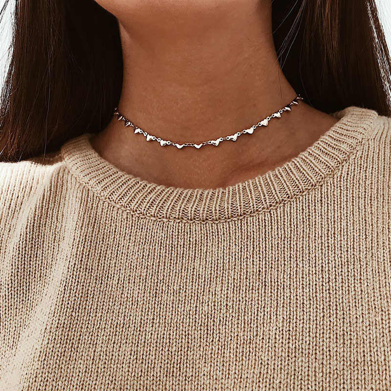 קצר לב שרשרת קולר לנשים זהב שרשרת שרשרת תליון תכשיטי נקבה צדף שרשרת ketting kolye collares