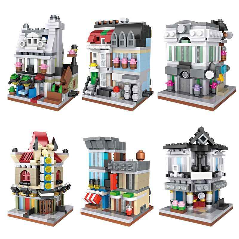 1pcs City Building Mini Street Cinema Pet Shop House Bank Building Brick gift Toys Compatible City Architecture Blocks Loz