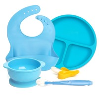 Food Grade Silicone Baby Feeding Set bib+Suction Bowl+Spoon+Baby Teether+Baby Plate Dishes Set Bowls Tableware Dinnerware Gifts