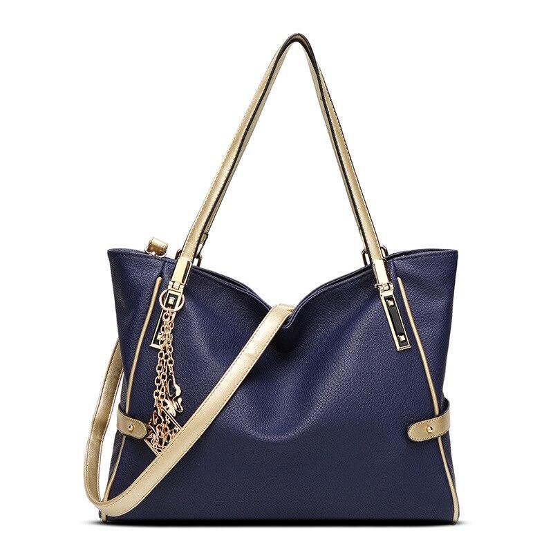 New Woman Bag PU high capacity leisure solid color soft shoulder Woman Handbag M