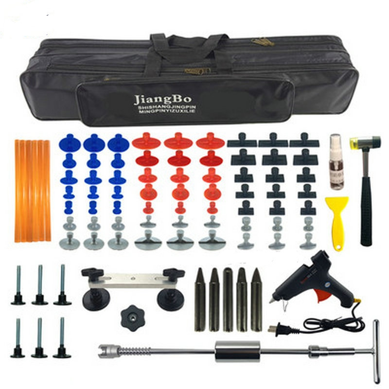 88 Pieces in One Car Paintless Dent Repair Tool Set Dent Puller Kit PDR Tools Slide Hammer 63 Pulling Tabs 5 PDR Tap Down Pen paintless dent repair pdr tools aluminum tap down hammer pdr slide hammer pdr glue tabs wedge t bar puller car dent fix auto