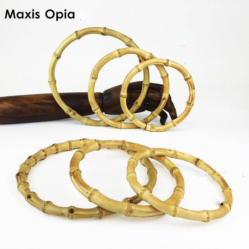 Five Pairs Nature O Shape Bamboo Rings Fashion Bamboo Bag Handle Purse Frame DIY Handbag Accessories For Bags Frame Handle Purse