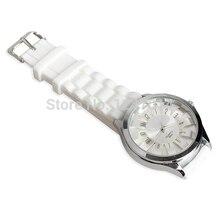 Classic Textured Blocky Watch White Silicone Band Wristwatch Women's Quartz Wrist Watch