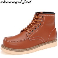 Men Boots Casual Clothing Trend Of The New Fall And Winter Leather High Help Tooling Plus