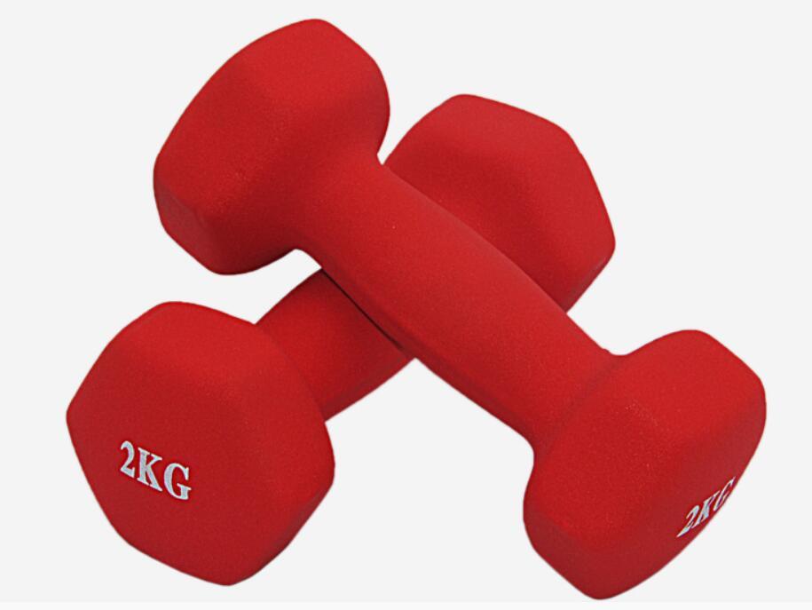 2*2 kg/pcs haltères hexagonaux givrés plastique dip dans haltère Fitness muets-cloches spécial pour les femmes aérobic perdre du poids