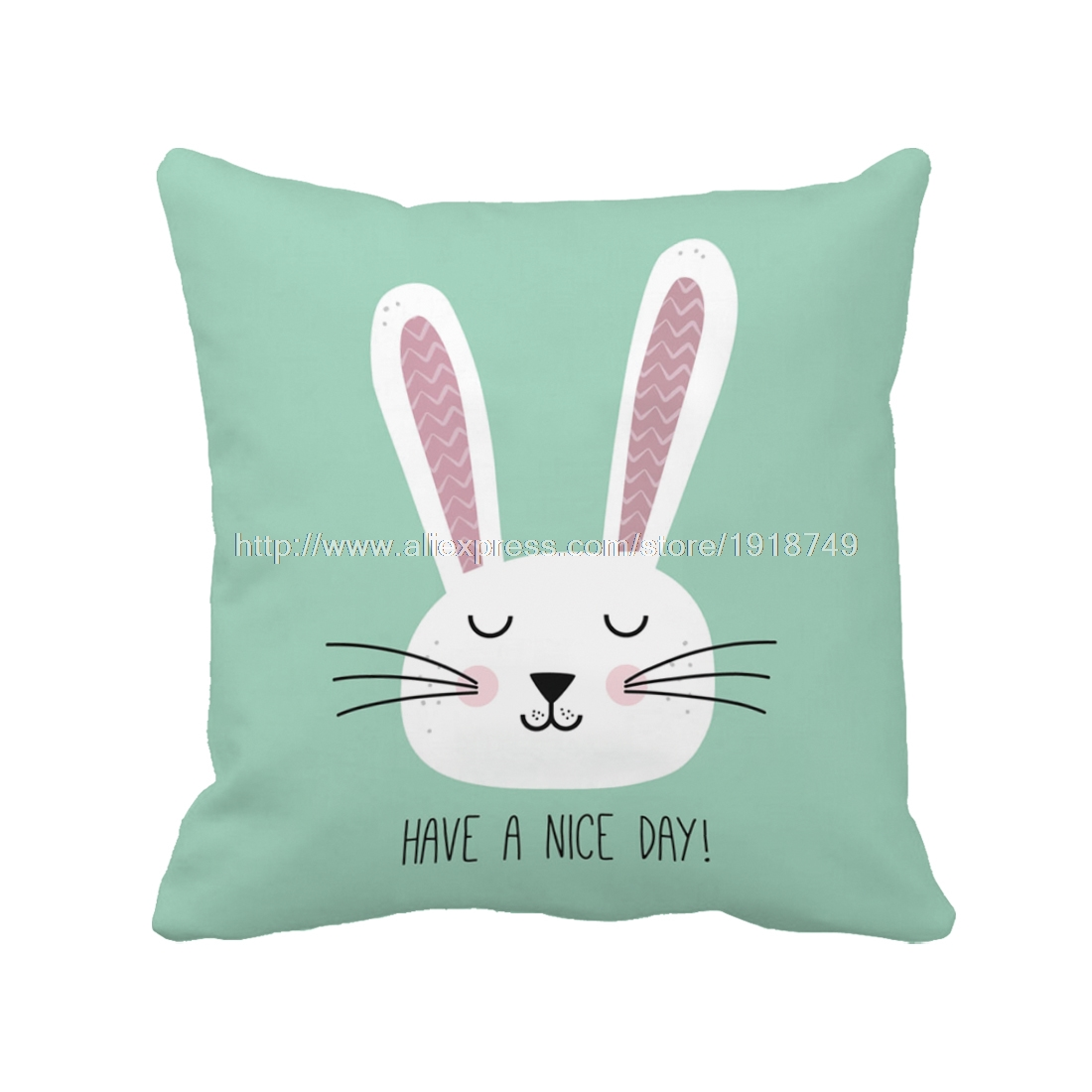 Cute Rabbit with Letter Printed Customized Green Cushion Cover Cartoon Animal Throw Pillow Case For Home and Sofa Decoration