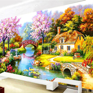 Image 1 - Golden Panno, DMC Cross stitch,Needlework,Sets For Embroidery kit 9ct 11ct printed cotton silk thread Dream home Counted cross