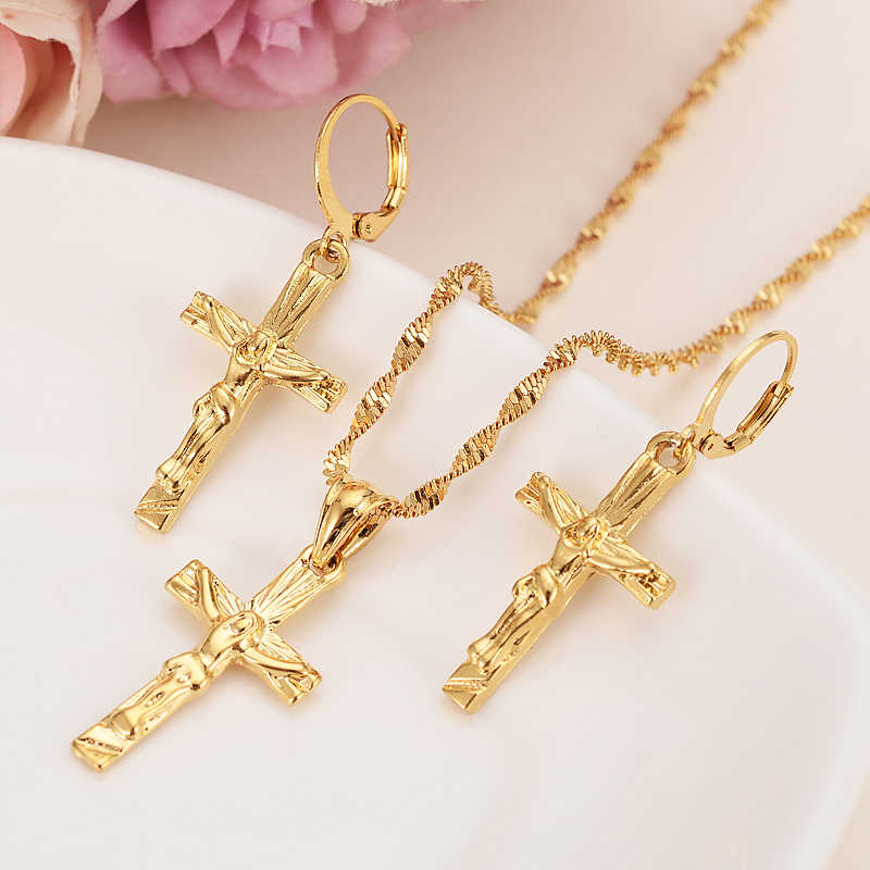 jesus  cross Jewelry sets Classical Necklaces Earrings Set Gold Color Brass,Arab/Africa Wedding Bride's Dowry women girls gifts