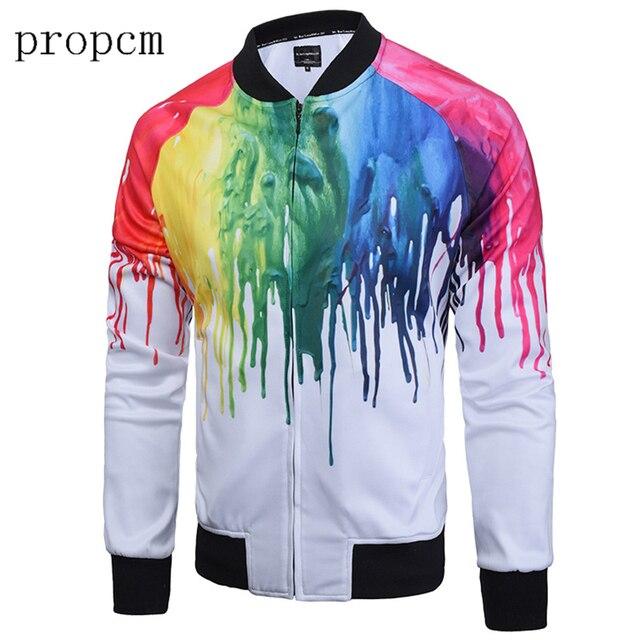 Fashion Mens Jackets Bomber Jacket Autumn Windbreaker Coats Tactical Men Plus Size Long Sleeve Oil Painting Print Streetwear Man