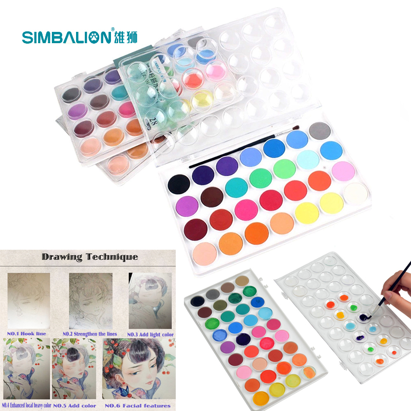 Materiales de arte 36 Colores Caja de Plástico Portátil Viajes - Escuela y materiales educativos