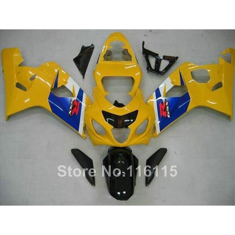 Top quality fairing kit for SUZUKI GSX-R600 750 K4 2004 2005 fairings GSXR600 GSXR750 04 05 yellow blue black   Q745