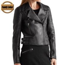 Fandy Lokar Genuine Leather Biker Jacket Women 2017 Fashion Black Motorcycle Jackets Winter Spring Real Leather Coat Outerwear