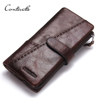 CONTACT'S 100% Genuine Leather Wallet Men Long Vintage Cow Leather Casual Purse Brand Design High Quality Wallets Cell Phone Bag