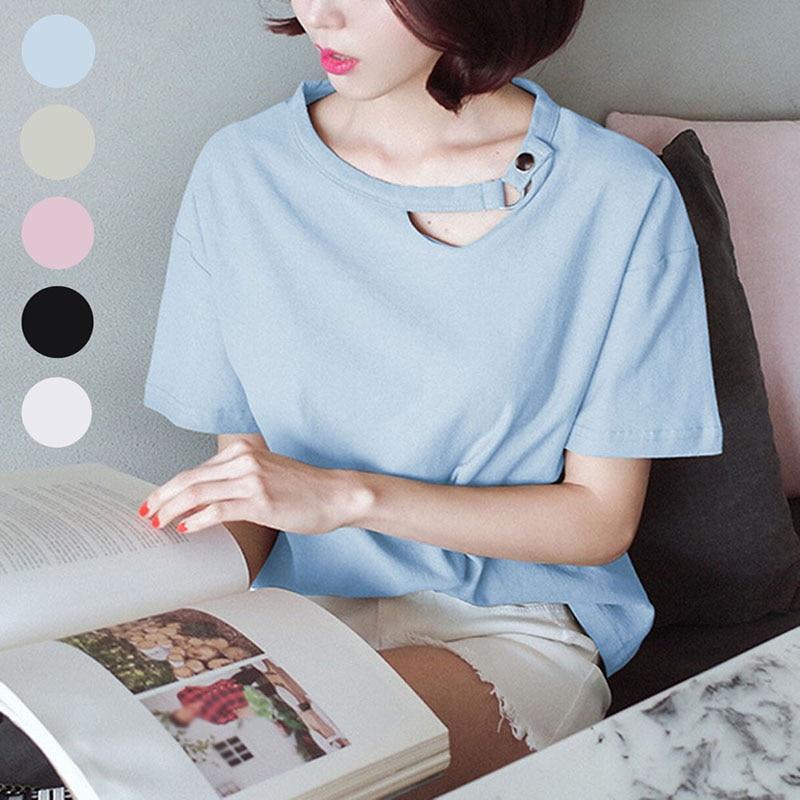 Women's T-shirt Tee Top Short Sleeve Cotton Summer Button Round Collar Fashion Loose Tee FS99