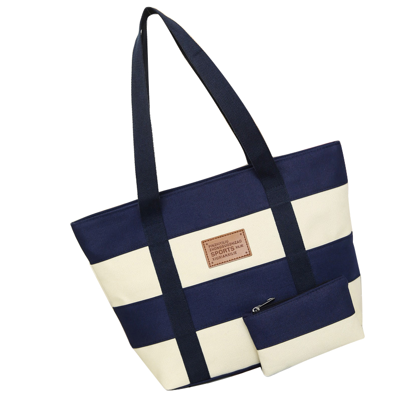 2019 Women Beach Canvas Bag Fashion Color Stripes Printing Handbags Ladies Large Shoulder Bag Totes Casual Bolsa Shopping Bags