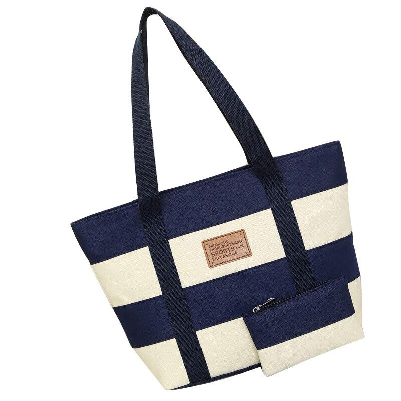 912b9011e47 2019 bolso de lona de la playa de las mujeres de moda de Color rayas ...