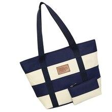 2019 bolso de lona de la playa de las mujeres de moda de Color rayas de impresión de bolsos de las señoras bolso de hombro grande Totes Casual Bolsa bolsas de compras