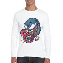 New Brand Hot Sale Tees Horror Venom Printed Mens T-Shirt Top Quality Cotton Long Sleeve Fashion T Shirt Men Tshirts Clothing