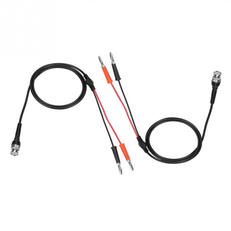 2Pcs Black Red BNC to Dual Banana Plug Connector Test
